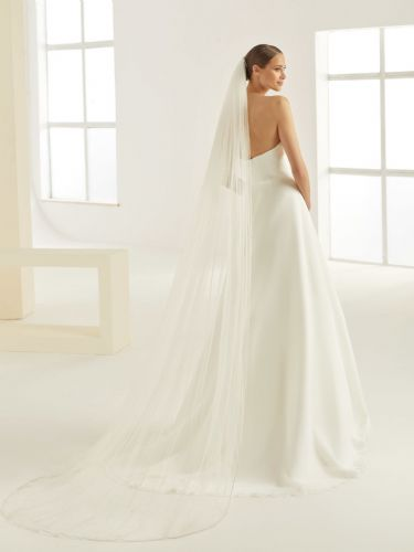 One layer crystal edge cathedral veil in soft tulle, 98 inches